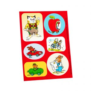These are examples of what some of the stickers looked like. Except they were re-useable. Richard Scarry stickers.